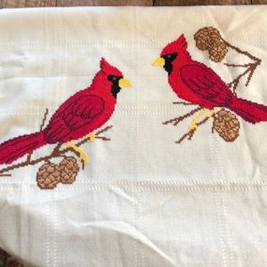 Cross stitch Cardinal throw blanket